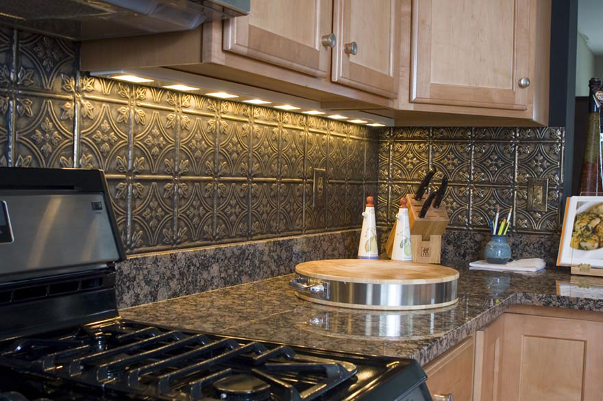 metal ceiling tiles backsplash